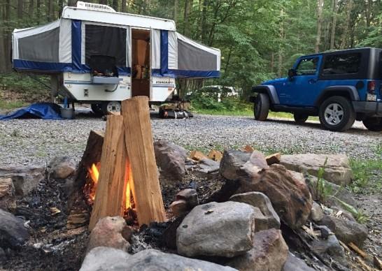Blue Jeep, Camper + Cozy Bonfire = FUN
